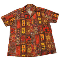 Vintage 90s Red Indian Tapestry Print Button Up Shirt Mens Size Large