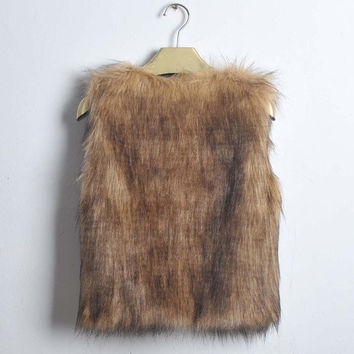 Women Lady Vest Sleeveless Coat Faux Fur Outerwear Long Hair Jacket Waistcoat = 1932555140
