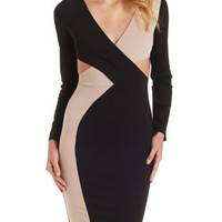 Black Combo Crisscross Color Block Bodycon Dress by Charlotte Russe