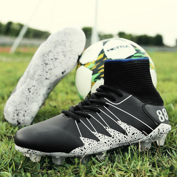 New Men Soccer Shoes FG Football Boots Professional High Ankle Superfly Sneakers Outdoor Lawn Cleats Sport Training Boots
