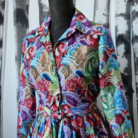 Vintage Early 60's/Late 50's Mod Howard Wolf Multicolor Paisley Full Skirt Dress with Tie Belt Size Small Psychedelic