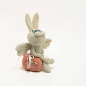 Felt bunny - Mother's day gift - felted angel - decoration