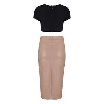 Two Piece Set Black Cropped Bandage Top and Apricot Split Asymmetrical Leather Dress