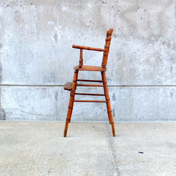 Antique Victorian wooden baby high chair doll seat