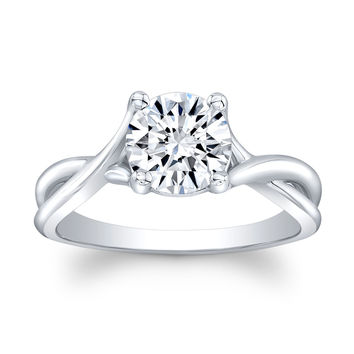 Ladies 14k white gold classic twist engagement ring solitaire w/1.50 ct natural Round Brilliant White Sapphire center