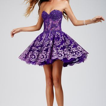 Strapless Purple Fit and Flare Dress 88603