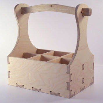 Wood beer box 6 pack carrier