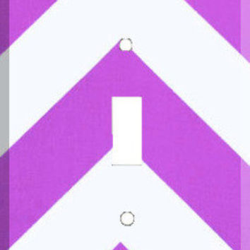 Light Switch Cover - Light Switch Plate Purple White Chevron