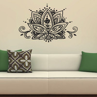 Housewares Wall Vinyl Decal Lotus Flower Patterns Art Indian Design Murals Interior Decor Sticker Removable Room Window SV2346