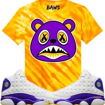 LA BAWS Gold Tye Dye Sneaker Tees Shirt - Jordan 13 Los Angeles Lakers