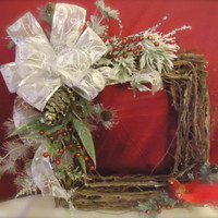 """Christmas Wreath Natural Twig Square- """" """", Silk floral, Summer, Yellow, Lillie's, Roses, Gift, Home Decor, Housewarming"""