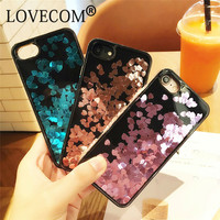 Luxury Love Heart Stars Dynamic Liquid Quicksand Soft TPU Black Frame Phone Back Cover Case For iPhone 6 6S 7 Plus New Sleeve