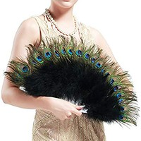 "BABEYOND Roaring 20s Vintage Style Peacock & Black Marabou Feather Fan Flapper Accessories (15"" L & 27"" Spread)"