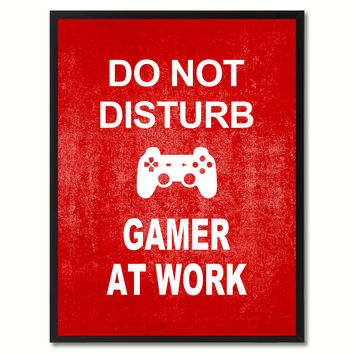 Don't Disturb Gamer Funny Sign Red Print on Canvas Picture Frames Home Decor Wall Art Gifts 91808
