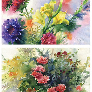 Postcard, flower watercolor painting print - two flower themed printed postcards