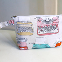 Cosmetic Pouch / Make up pouch retro typewriter