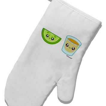 Cute Tequila Shot and Lime Wedge White Printed Fabric Oven Mitt by TooLoud