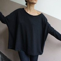 Cotton Casual Loose Blouse / Black Oversized Top with Zip on the Back / Made to order