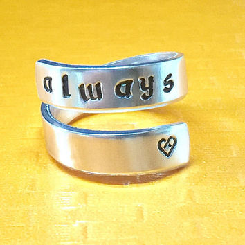 Magic Book Inspired - Always Spiral Ring - Hand Stamped - Gift Under 20