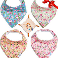 Baby Bandana Drool Bibs for Girls, Vintage Flowered, 4-pack of Absorbent Cotton & Pacifier Clip- Snuggle Blanky & E-book, Premiuim Gift Sets for Your Baby Love By TamTchu