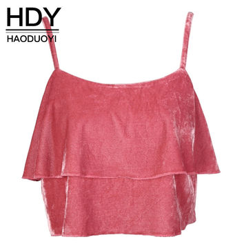 HDY Haoduoyi Fashion Sexy Spaghetti Straps Tank Top Women Camis Solid Pink Ruffles Casual Crop Tops Brief  Vest T-shirts Tee
