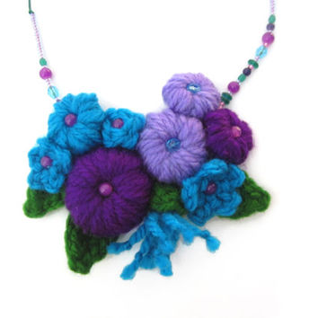 Acrylic wool crochet necklace,asymmetric necklace,flower necklace,bouquet necklace,asymmetric,violet,turquoise,lavender,nature inspired