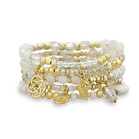 Set of 5 White Bead Gold Tone Fashion Stretch Bracelets from Saturday On The Square