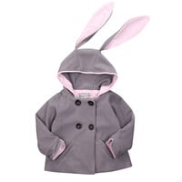 2016 kids winter thick cardigan Rabbit Jacket Hooded Hat jackets for little girls autumn baby girl hoody coat