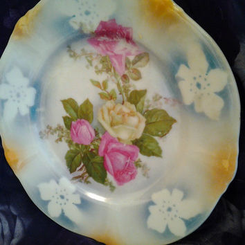 Vintage China Plate Beyreuth Bavaria Millar Shabby Chic Roses Cottage Style Pink and Yellow Rose Vintage