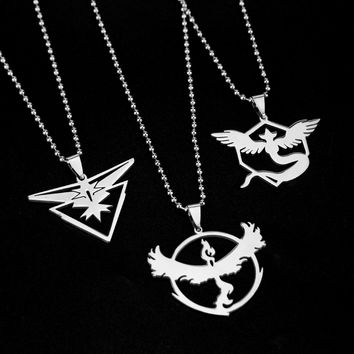 3 style Anime Pokemon Go Jewelry Necklace Game Stainless Steel Team Valor Mystic Instinct Logo Bead Chain for fans Souvenir