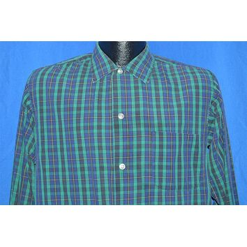 50s Mac Taggart Blue Green Plaid Shirt Medium