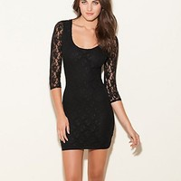 Dakota Three-Quarter Sleeve Lace Dress at Guess