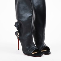 KUYOU Christian Louboutin Black Leather Open Heel  Mistinguetre  Boots