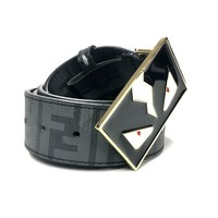 Fendi Zucca Monster Belt Men 40 Black Leather Gold Buckle ZM