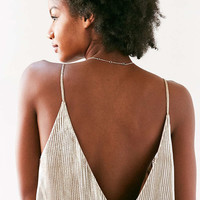Kimchi Blue Gold Accordion Pleat Midi Slip Dress - Urban Outfitters
