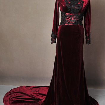 5cc49245185 Once Upon A Time Regina Evil Queen Inspired Red Velvet Ball Gown Dress  Cosplay Costume