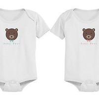 Cute Baby Boy Bear and Baby Girl Bear Snap-on Onesuits
