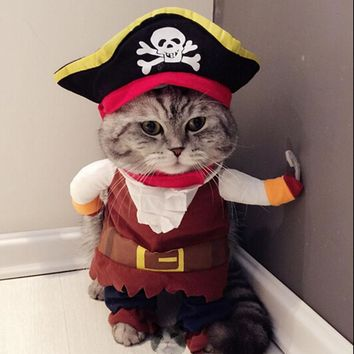 Funny Cat Costume Pirate Suit Cat Clothes Corsair Halloween Costume Puppy Suit Dressing Up Party Clothes For Cat 20S1