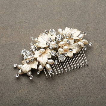 Bridal Hair Comb with Hand Painted Gold Leaves, Freshwater Pearls and Crystals