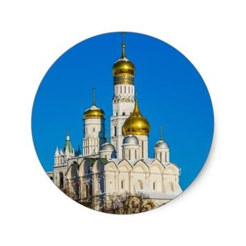 Moscow Kremlin cathedrals Classic Round Sticker
