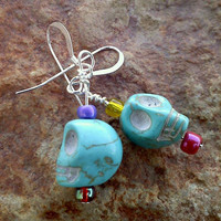 Skull Earrings made of Turquoise Magnesite and Czech Glass Beads, Dangle Earrings