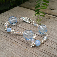 Ice Blue Czech glass and Swarovski Bracelet, Czech Glass and Swarovski jewellery, Handmade Chain Bracelet with star
