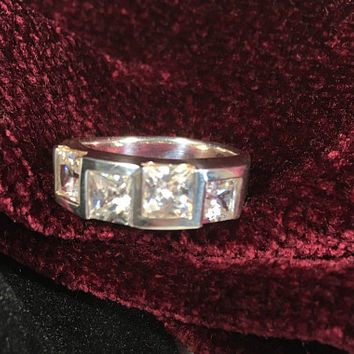 Sterling Silver and Crystal Glass Band - Square Rhinestones - 925 - Square Crystal Ring - CZ's Ring - Statement Ring - MimisJewelryBoutique