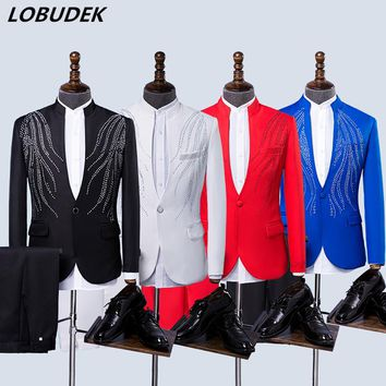 Adult Formal Men's Suits Black Red White Blue Stones Blazers Crystals Jacket Wedding Clothing Choral Dress Host Singer Costumes