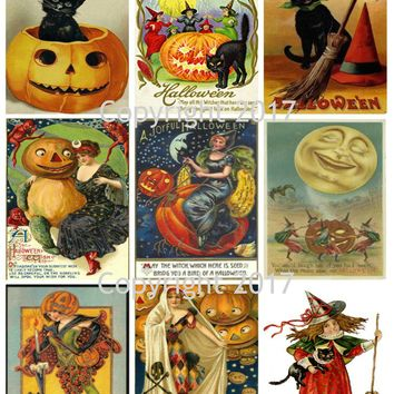 Printable Vintage Halloween Cards Collage Sheet 101.