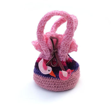 Little Handbag Bag for Small Lady Bag with Birds Pink Purple Boho Crochet Purse Hippie Eco friendly