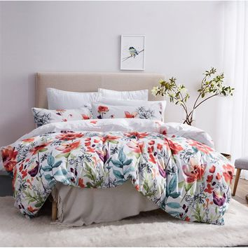 Flower Duvet Cover Set, Floral Boho Hotel Bedding Sets Comforter cover with Soft Lightweight Microfiber 1 duvet cover and 2 Pill