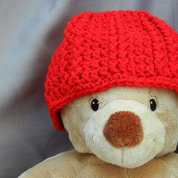 Red Crochet Beanie Hat Acrylic Kids Hat by CroweShea on Etsy