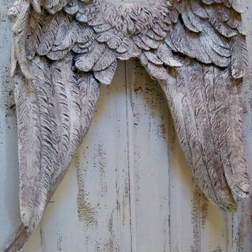 Large wings wall sculpture gray white detailed French inspired made of heavy resin home decor Anita Spero