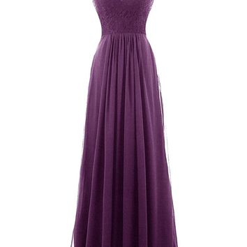 TDHQ Women's Long Bridesmaid Dress Illusion Lace V-Neck Chiffon Evening Gowns